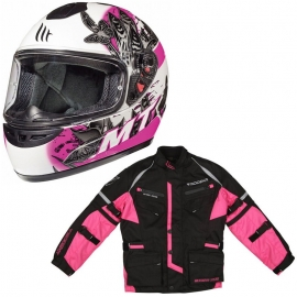 Chaqueta Modeka Tourex II Kids Rosa + Casco MT Thunder Breeze