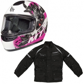 Chaqueta Modeka Tourex II Kids Negra + Casco MT Thunder Breeze