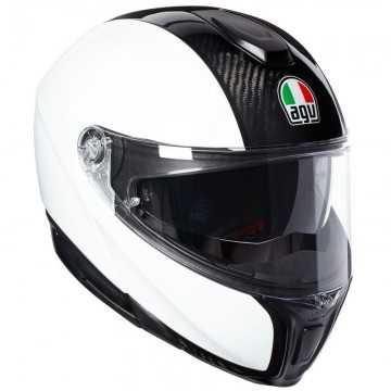 Casco Agv Sportmodular Monocolor Carbono / Blanco