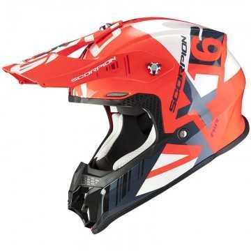Casco Scorpion VX-16 Mach Rojo Fluor Blanco